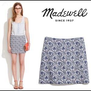 Madewell Blue Bud Textured Floral Mini Skirt